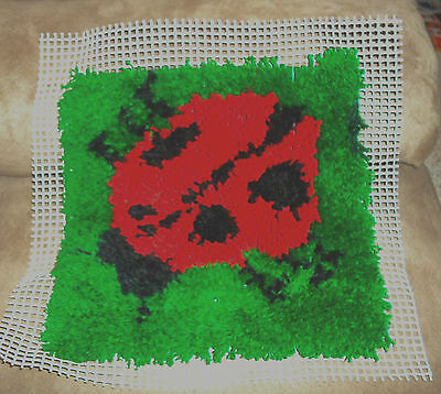 """completed 12"""" Natura latch hook rug or wall hanging Valentine Love Bug"""