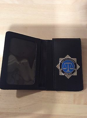 Hand crafted Leather ID Card holder With Enforcement Agent Badge