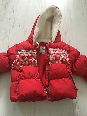 Next Red Padded Fleece Lined Coat Fair Isle Warm And Cosy 6-9M Unisex