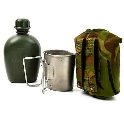 Original Netherlands Dutch Army Canteen with cup and camo cover