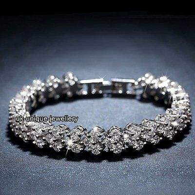 925 Silver Crystal Diamond Tennis Bracelet - Christmas Gifts For Her Wife Women