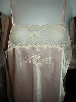 Vtg.Christian Dior Pink Camisole w Logo & lots of lace Size Large