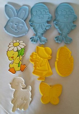 8 VINTAGE HALLMARK COOKIE CUTTERS butterfly lamb duck chicks bunny egg