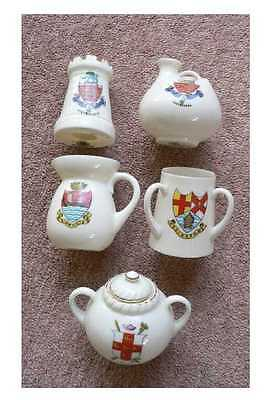Five Small Pieces Of Arcadian Crested China