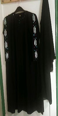 Burka abaya jilbab kaftan black muslim islamic maxi dress crystal diamonte flare