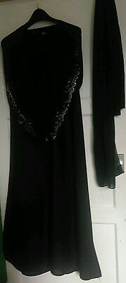 Burka abaya jilbab kaftan muslim islamic maxi dress Black crystal diamonte flare