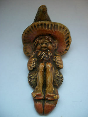 Very Rare Pendelfin  Manx  Pixie Wall Plaque Named Phynnodderee