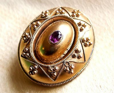 Fabulous Antique Victorian Gilt and Amethyst Mourning Photo Locket Brooch c1865