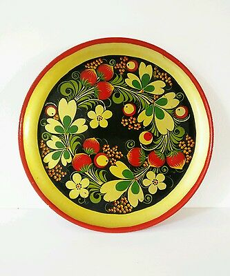 Authentic Vintage RUSSIAN Laquered Plate HOHLOMA/KHOKHLOMA