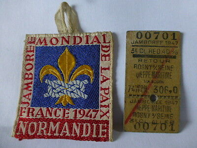 1947 World Scouts Jamboree Participants Staff Silk Badge Normandie France Ticket