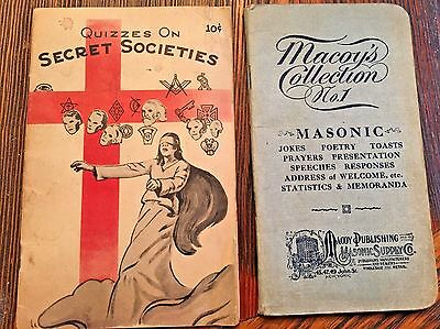Vintage Freemason 1915 Information & 1942 Quizzes on Secret Societies Booklets
