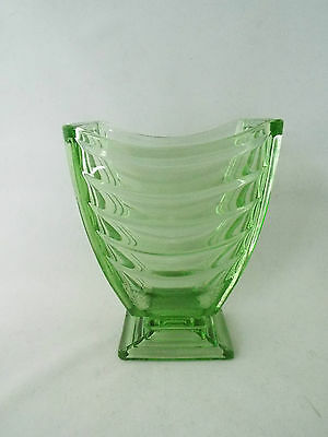 Art Deco Sowerby Green Pressed Glass Vase - Pattern 2617