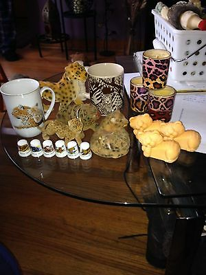 Cheetah/Leopard Collection Variety(cups,animals,candles)Vintage