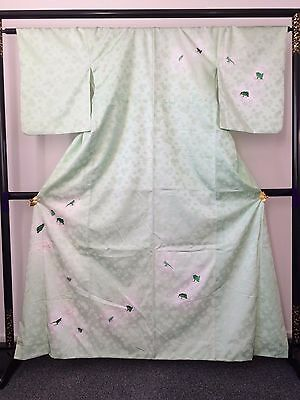 Vintage authentic Japanese silk kimono, lime green & frogs patter (G690)