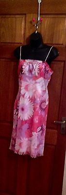 Pink Floral Dress Size 12 New