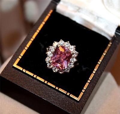 Very Pretty Pink & Clear Rhinestone Cocktail Ring Size 8
