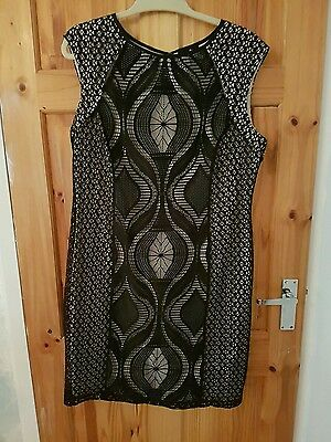 womens wallis cream and black lace dress size 16 christmas party