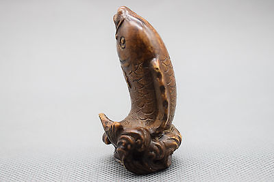 Antique old China Old stone Hand carving fish statue