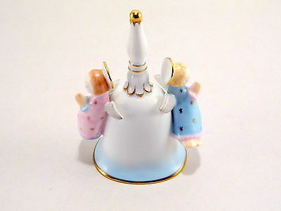 Herend Two Angels Christmas Bell, 5 Inches High,brand New Boxed