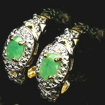 Gorgeous 925 Silver 14K Gold Plated Oval Facet Green Colombia Emerald Earrings~
