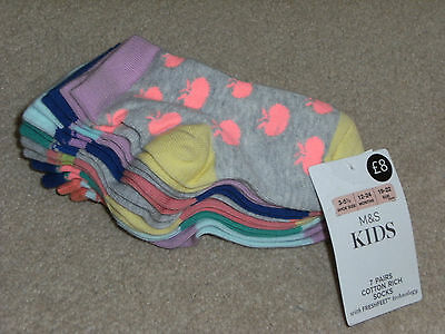 'm&s - Kids' 7 Pairs Cotton Rich Socks,age 12-24Mths,bnwt !