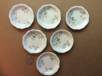 6 Vintage China 3 Inch Diameter Butter Pats Plates Blue Flowers