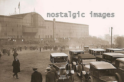 PHOTO TAKEN FROM A 1930's IMAGE SCENE OUTSIDE ST JAMES PARK FOOTBALL GROUND