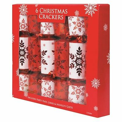 Red Novelty Luxury Christmas Crackers Party Xmas Selection - 6 Pack