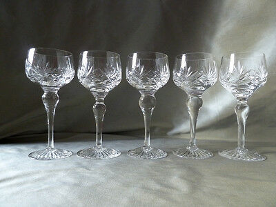 5 Stuart Crystal Ludlow cut hock glasses, not signed