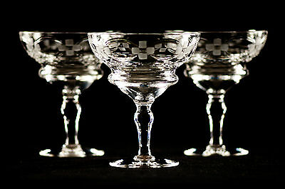 THREE LARGE VINTAGE WEBB CORBETT CUT AND ETCHED CRYSTAL STEMMED DISHES 1930s-40s