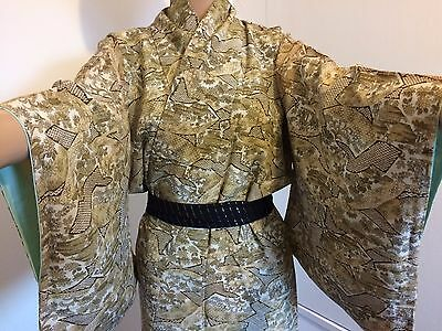 Vintage authentic Japanese silk crepe kimono, brown, houses, flowers (G691)