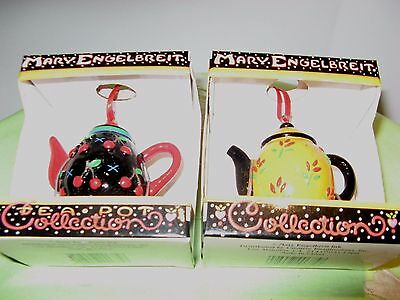 FIVE MARY ENGELBREIT TEA POT COLLECTION ORNAMENTS New In Box (GREAT GIFTS)