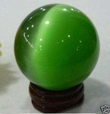 Unique 40mm green Mexican cat's eye Opal Sphere, Crystal Ball/Gemstone+stand