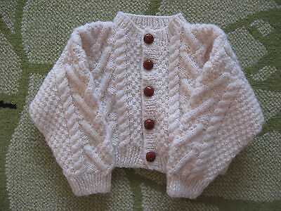 hand knitted baby boys cream aran cardigan will fit approx 12 months