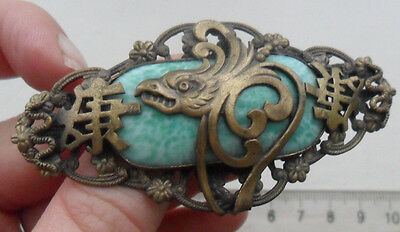Vintage old art deco costume jewellery Czech chinese style eagle ? glass brooch