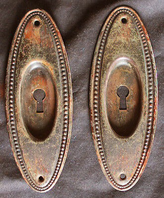 Pair Antique Vintage Copper Steel Oval Pocket Sliding Door Pull Handle Plate