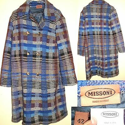 MISSONI Vintage 80s Cappotto Overcoat Lana Wool 42 Made in Italy SUPER RARE