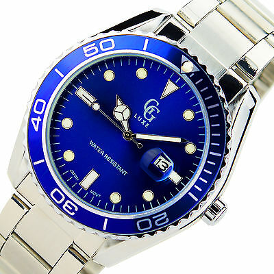 Gg Luxe New Mens Blue Wrist Watch Date Stainless Steel Water Resistant Sport