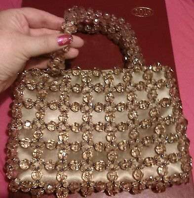 Beaded Evening Bag Gold Colour Sparkly Wedding Races Party Prom Ladies Night