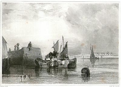 """""""The Market Boat"""" Fish Traders in Dutch Landscape - By Thomas L. Grundy  c1835"""