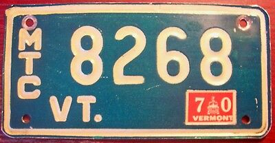 1970 Vermont Motorcycle Cycle Vintage License Plate Harley Indian Original Vt