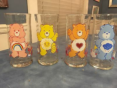 Vintage 1983 Set of 4 Care Bears Limited Edition Collector Glasses Tumblers