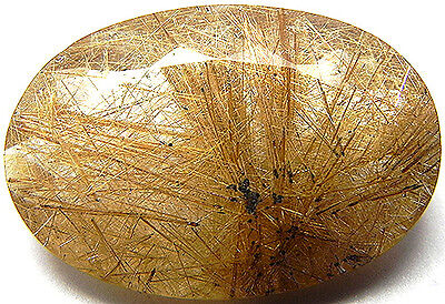 29.40Cts Very Beautiful 100% Natural Rutilated Quartz With Needles Oval Cut Gem!
