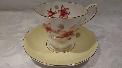 Beautiful Royal Grafton Light Yellow Saucer and Red Flower Tea Cup # 1265