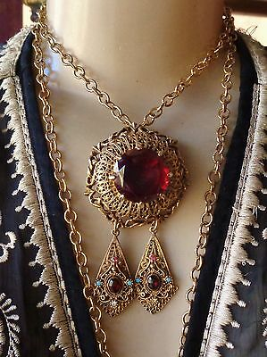 Vintage Necklace Stunning Neo Victorian Red Rhinestone Pendant Long Chain