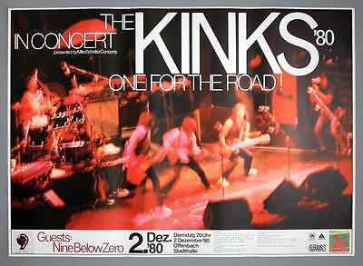 THE KINKS - rare vintage original Germany 1980 One For The Road concert poster