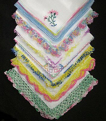 Vintage Lot of 20 BEAUTIFUL Crochet Tatted Embroidered Lace Hankies