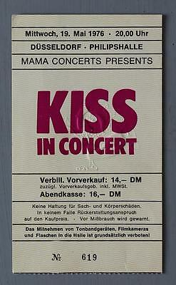 KISS - mega rare original Dusseldorf (Germany) May 1976 concert ticket