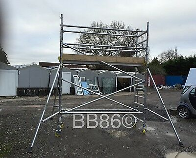 Boss Youngman Aluminium 4.2m W/H Narrow Scaffold Tower Fully Complete
