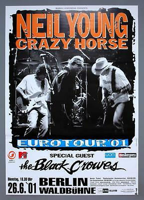 NEIL YOUNG Black Crowes - rare original Berlin 2001 concert poster